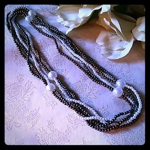 Vintage Fashion Faux Pearl Multi-strand Necklace